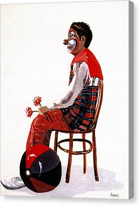 Canvas Print featuring the painting The Clown, Intermission by Joyce Gebauer
