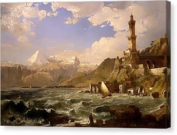 The Coast Of Genoa Canvas Print by Mountain Dreams
