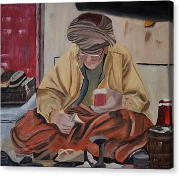 The Cobbler Canvas Print by Zilpa Van der Gragt