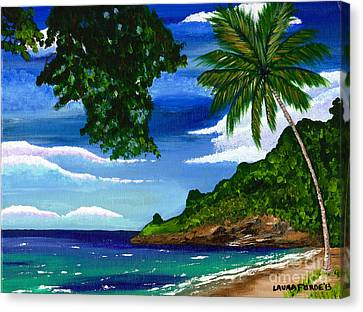 Canvas Print featuring the painting The Coconut Tree by Laura Forde