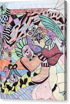 Balloon Flower Canvas Print - The Collage by Jennifer Pierson