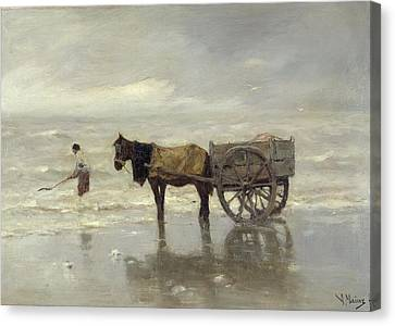 Horse And Cart Canvas Print - The Collection At Goemon Oil On Canvas by Anton Mauve
