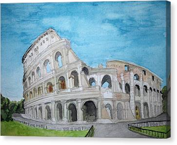 The Colosseum In Rome Canvas Print by Samantha Boyce