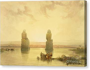 Ancient Egyptian Canvas Print - The Colossi Of Memnon by David Roberts