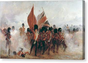 The Colors Advance Of The Scots Guards At The Alma Canvas Print by Lady Butler
