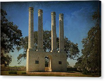 The Columns Of Old Baylor At Independence -- 3 Canvas Print by Stephen Stookey