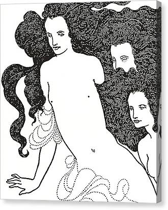 The Comedy Of The Rhinegold Canvas Print by Aubrey Beardsley