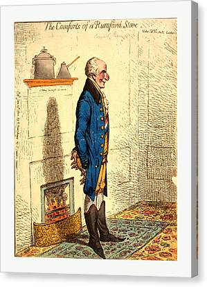 The Comforts Of A Rumford Stove Vide Dr. G-rn-ts Lectures Canvas Print by Litz Collection
