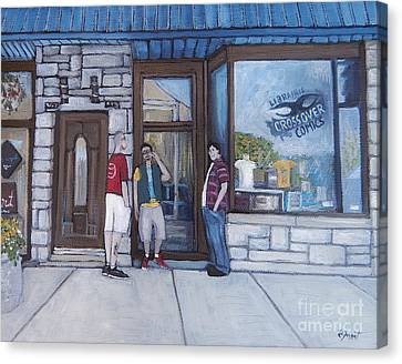 Montreal Streets Montreal Street Scenes Canvas Print - The Comic Book Shop by Reb Frost
