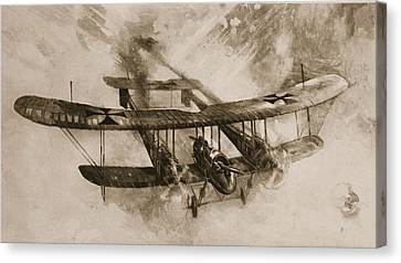 German Biplane From The First World War Canvas Print by English School