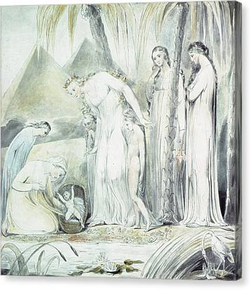 Heron Canvas Print - The Compassion Of Pharaohs Daughter Or The Finding Of Moses by William Blake