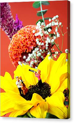 The Concert In The Flower Miniature Art Canvas Print by Paul Ge