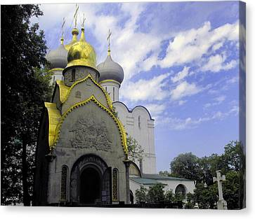 Russian Cross Canvas Print - The Convent In Moscow - Russia by Madeline Ellis