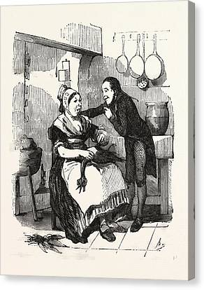 The Cook And Her Admirer In The Kitchen, Cleaning A Goose Canvas Print