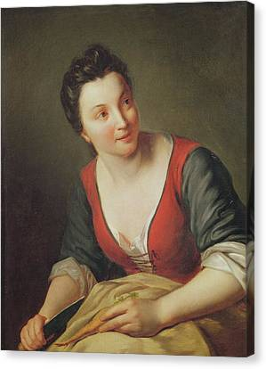 The Cook Oil On Canvas Canvas Print by Jean Baptiste Santerre