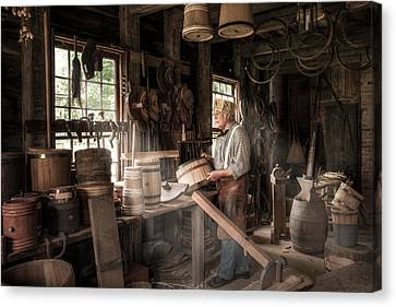 The Cooper - 19th Century Artisan In His Workshop  Canvas Print by Gary Heller