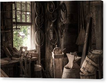 Canvas Print featuring the photograph The Coopers Window - A Glimpse Into The Artisans Workshop by Gary Heller