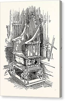 The Coronation Chair And Stone Of Destiny Westminster Abbey Canvas Print by English School
