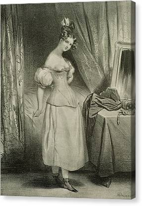 Hairstyle Canvas Print - The Corset by Achille Deveria