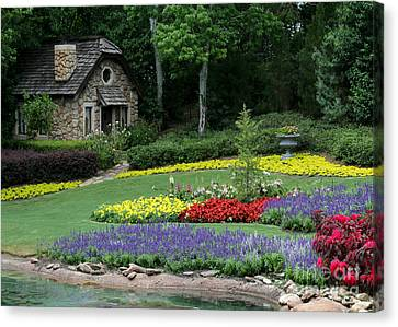 Florida Flowers Canvas Print - The Cottage And The Garden By The Pond by Sabrina L Ryan