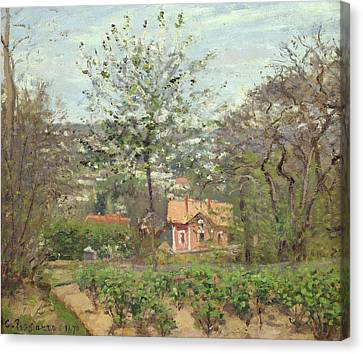 The Cottage, Or The Pink House - Hamlet Of The Flying Heart, 1870 Oil On Canvas Canvas Print by Camille Pissarro