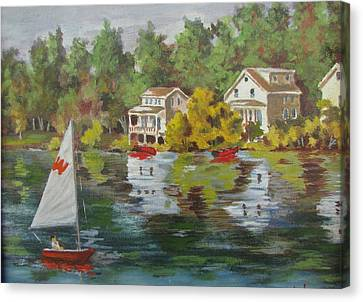Canvas Print featuring the painting The Cottages by Tony Caviston