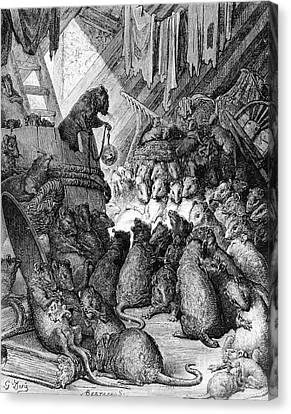 The Council Held By The Rats Canvas Print by Gustave Dore