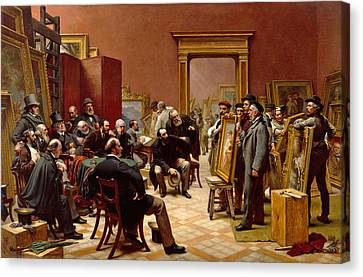 The Council Of The Royal Academy Selecting Pictures For The Exhibition Canvas Print by Charles West Cope