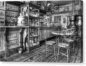 The Counter Black And White Canvas Print by Ken Smith