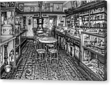 The Country Store Black And White Canvas Print by Ken Smith