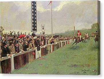 The Course At Longchamps Canvas Print by Jean Beraud