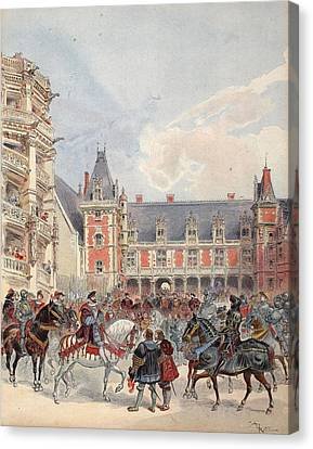 The Court In Chateaus Of The Loire Canvas Print by Albert Robida