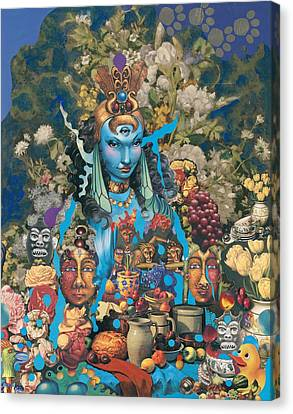 Canvas Print featuring the mixed media The Court Of The Blue Princess by Douglas Fromm