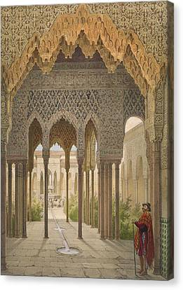Alhambra Canvas Print - The Court Of The Lions by Leon Auguste Asselineau