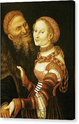 The Courtesan And The Old Man, C.1530 Oil On Canvas Canvas Print by Lucas, the Elder Cranach