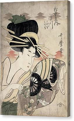 The Courtesan Ichikawa Of The Matsuba Establishment, Late 1790s Colour Woodcut Canvas Print
