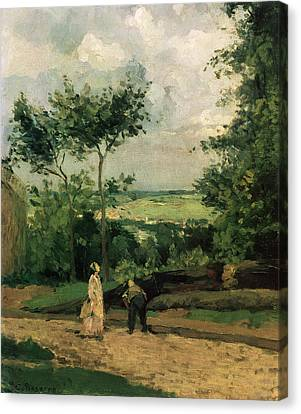 The Courtyard At Louveciennes Canvas Print by Camille Pissarro