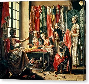 The Couturiers Workshop, Arles, 1760 Oil On Canvas Canvas Print by Antoine Raspal