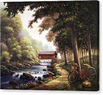 The Covered Bridge Canvas Print by John Zaccheo
