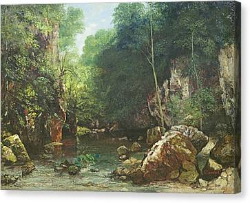 Hidden Face Canvas Print - The Covered Stream, Or The Dark Stream, 1865 Oil On Canvas by Gustave Courbet