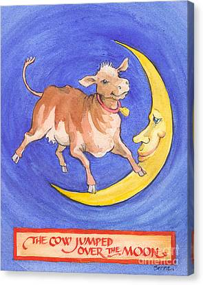 Canvas Print featuring the painting The Cow Jumped Over The Moon by Lora Serra