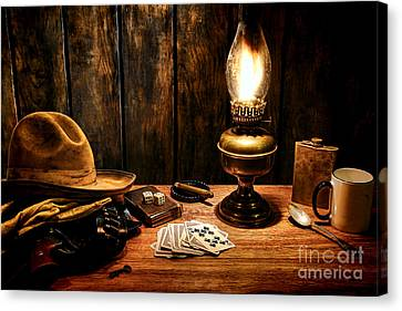 Oil Lamp Canvas Print - The Cowboy Nightstand by Olivier Le Queinec