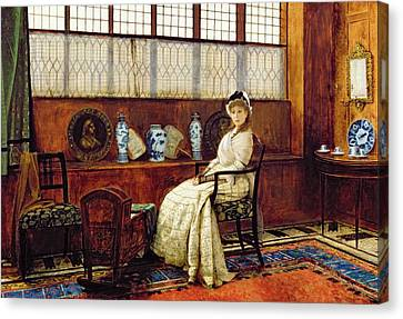 Lullaby Canvas Print - The Cradle Song by John Atkinson Grimshaw