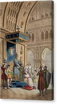 Chivalrous Canvas Print - The Creating Of A Knight Templar by Italian School