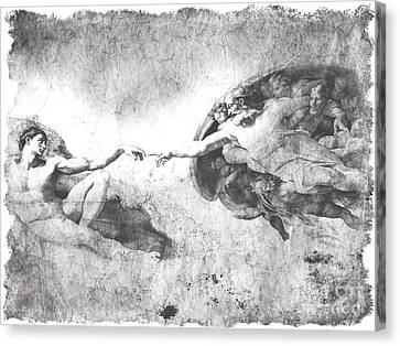 The Creation Of Adam Canvas Print by Stefano Senise