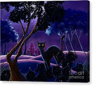 The Creepy Cat Of Ash Hills Canvas Print by Bedros Awak