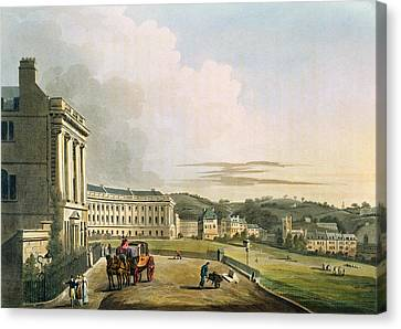 The Crescent, From Bath Illustrated Canvas Print by John Claude Nattes