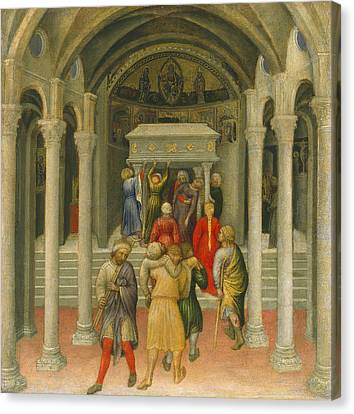 The Crippled And Sick Cured At The Tomb Of Saint Nicholas Canvas Print by Gentile da Fabriano