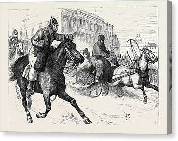 The Crisis In Russia Police Espionage In St Canvas Print by English School
