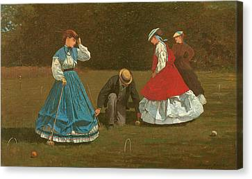 The Croquet Game Canvas Print by Winslow Homer